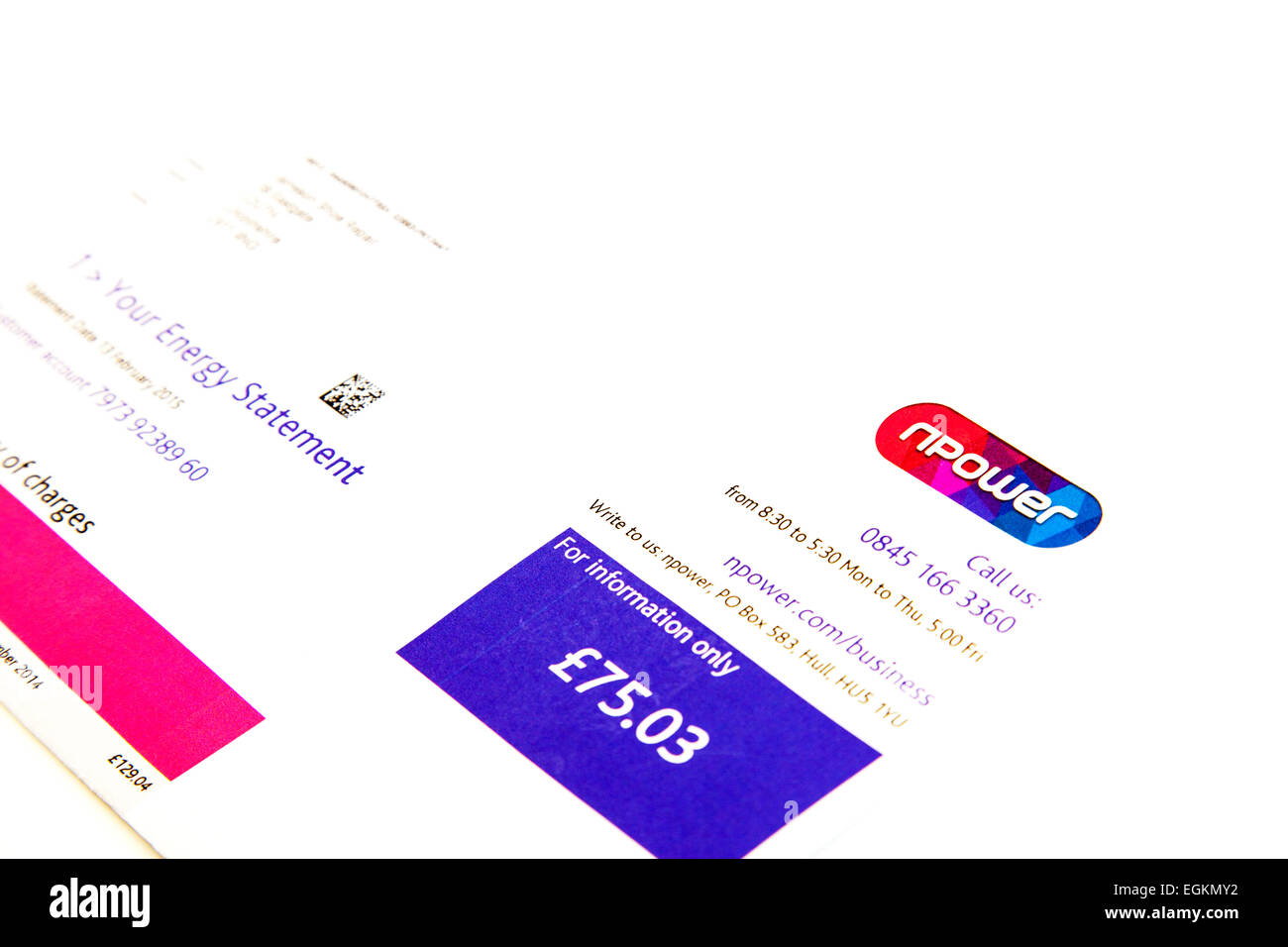 Npower bill electricity electric letter letterhead logo billing statement cutout cut out white background copy space - Stock Image