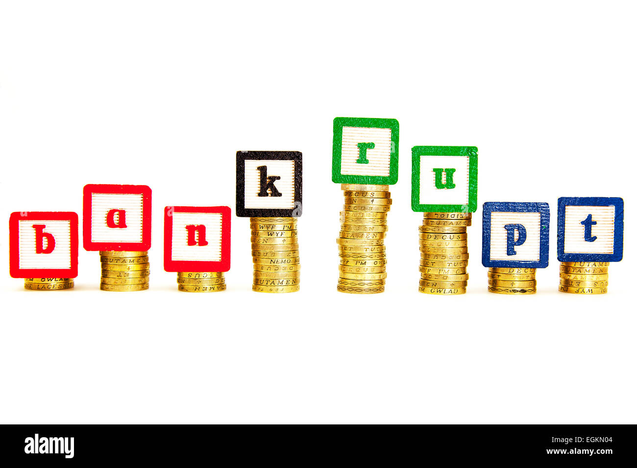 bankrupt bankruptcy money insolvent debt debts bank banks credit skint potless cutout cut out white background copy - Stock Image