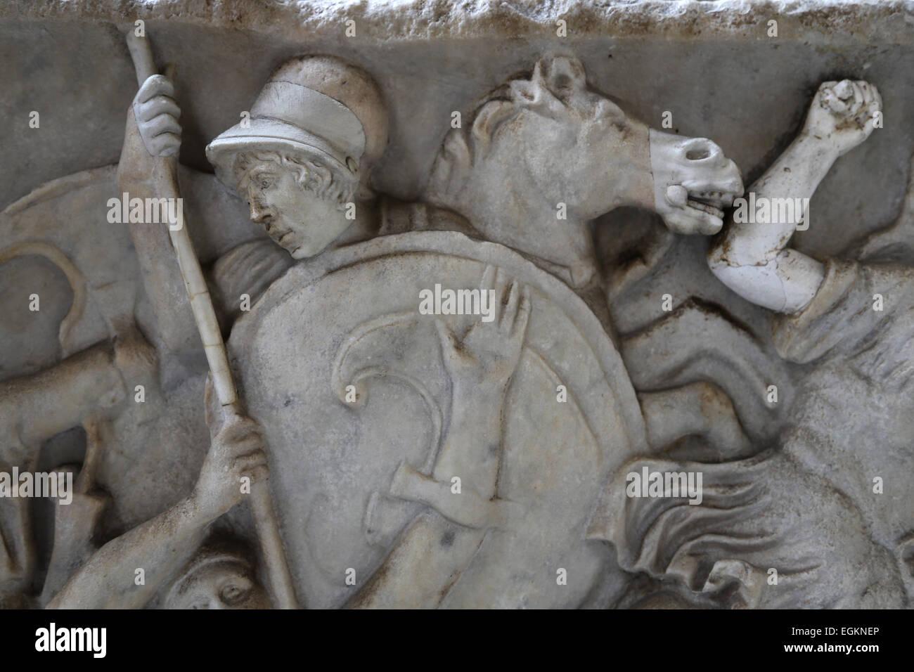 Roman era. Relief of Amazon battle. Vatican Museums. - Stock Image