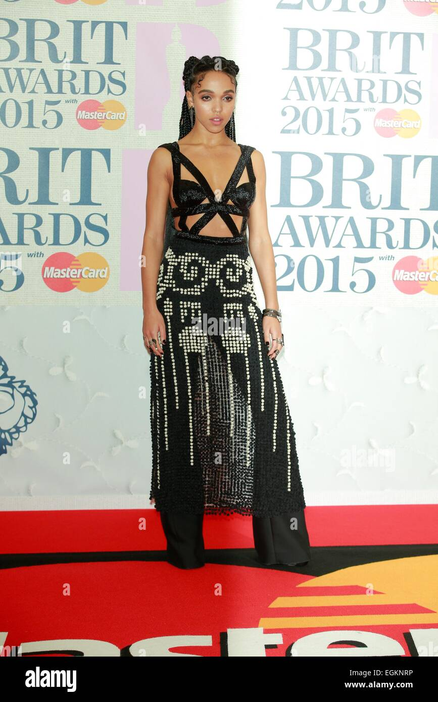 London, UK. 25th Feb, 2015. FKA Twigs attends the Brit Awards, Brits, at O2 Arena in London, Great Britain, on 25 - Stock Image