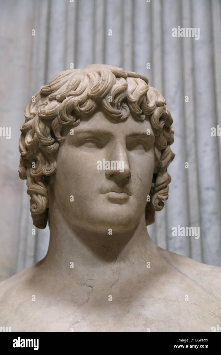 Antinous (111-130). Bithynian Greek youth and a favourite or lover of the Emperor Hadrian. Found in Hadrian's - Stock Image