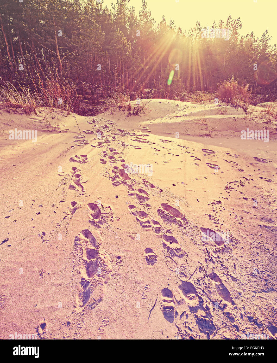 Footprints on sand, retro stylized nature background with flare effect. - Stock Image