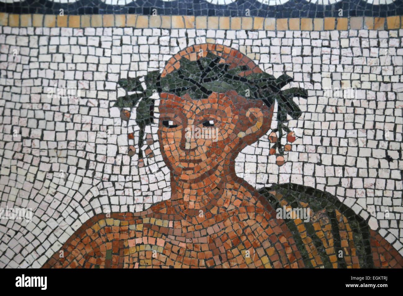 Roman art. Mosaic. Detail. Man's face. 3rd century. Round Room. Pio-Clementine Museum. Vatican Museums. Vatican - Stock Image