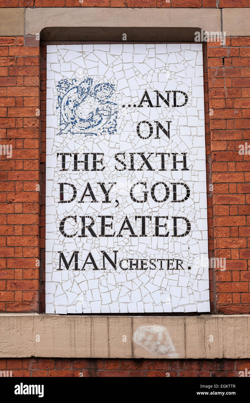 AND ON THE SIXTH DAY GOD CREATED MANCHESTER.  Mosaic by Mark Kennedy on Afflecks Palace. Northern Quarter. Manchester. - Stock Image