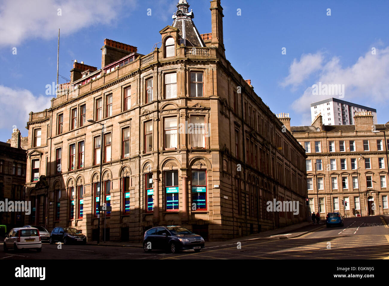 The 1884 Meadow Place Buildings: A Category Type B Listed Building situated at 46 Meadowside, Dundee, UK - Stock Image