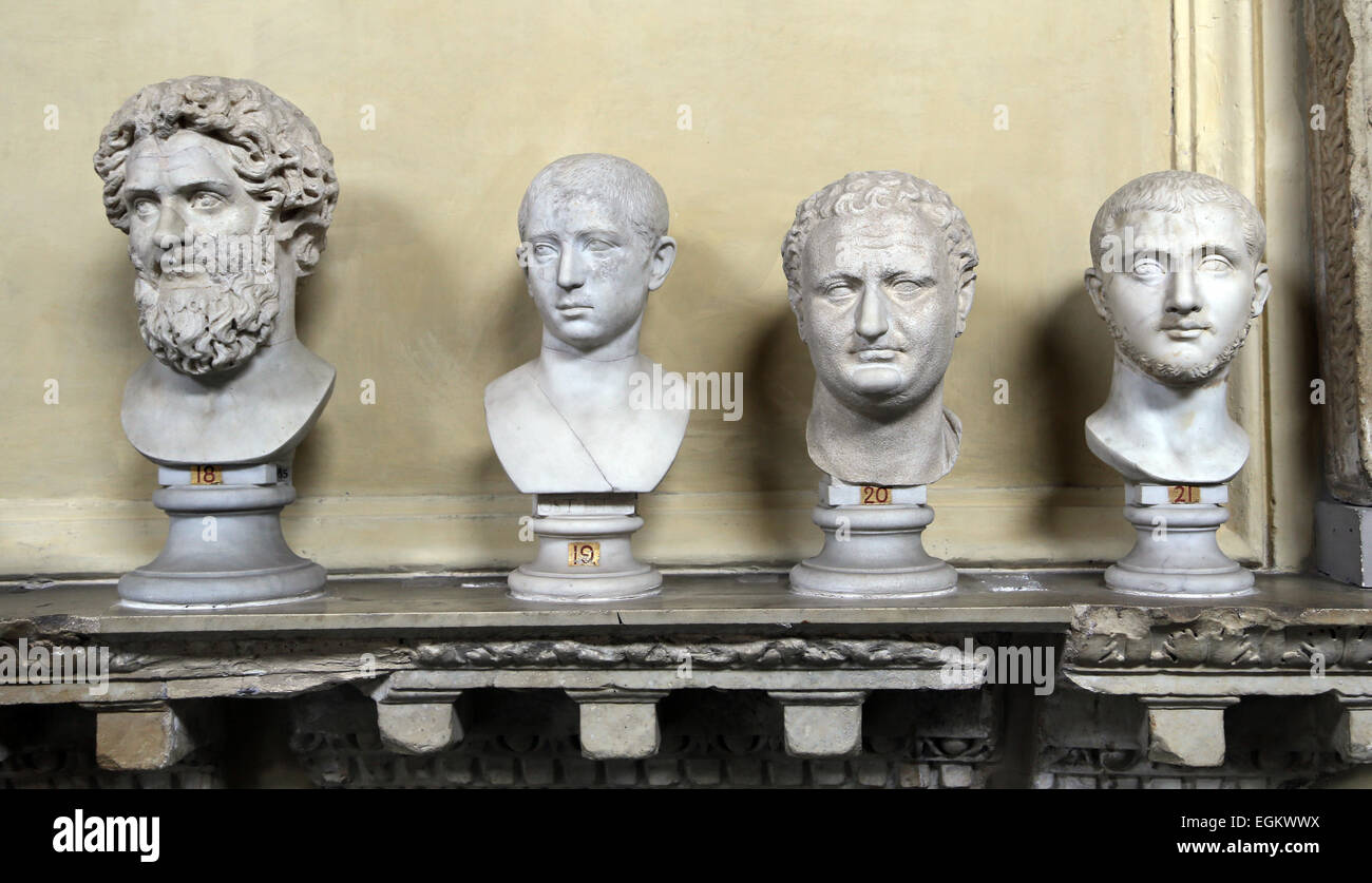 Male busts of Roman imperial era. Vatican Museums. Chiaramonti. - Stock Image