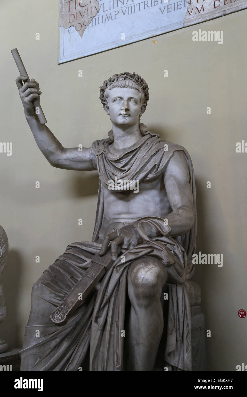 Statue with the attached head of roman emperor Tiberius (42 BC-37AD). Marble. 41-54 AD. Vatican Museums, Chiaramonti. - Stock Image