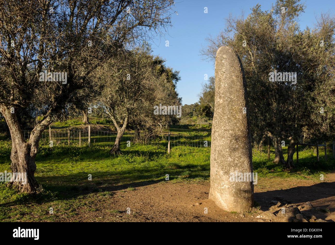 Menir dos Almendres, Almendres menhir - Stock Image