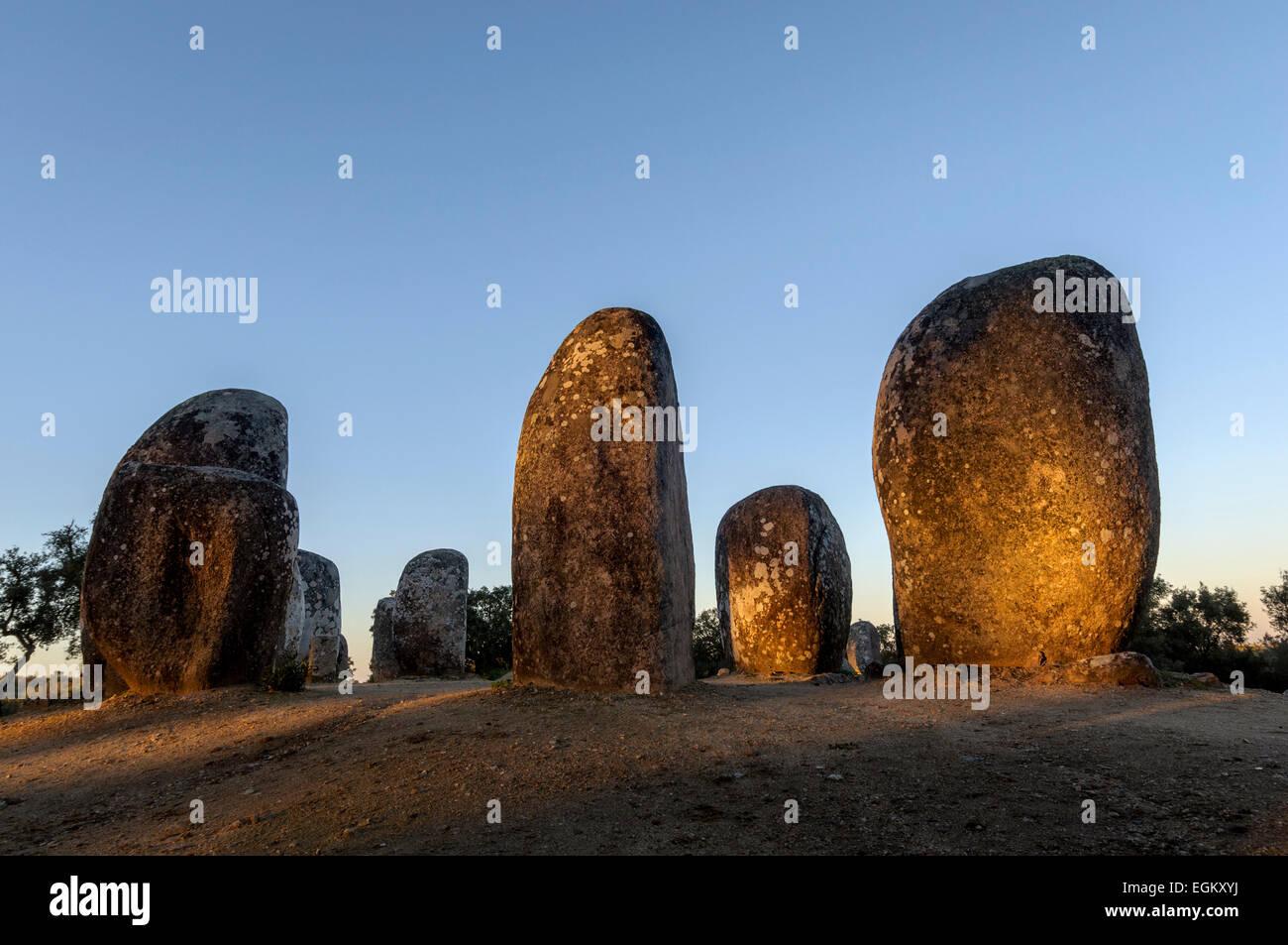Cromeleque dos Almendres, Almendres stone circle - Stock Image