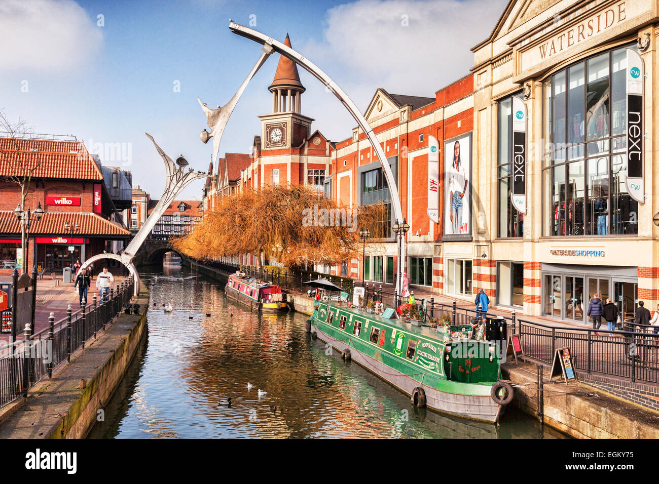 Waterside Shopping Centre and the River Witham, Lincoln, Lincolnshire, England, UK, on a sunny winter day. - Stock Image