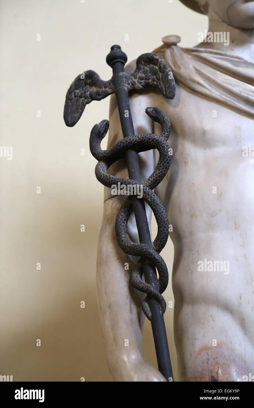 Statue of Hermes. Detail of caduceus.  Marble. Roman copy after a Greek original. Vatican Museum. Chiaramonti. - Stock Image