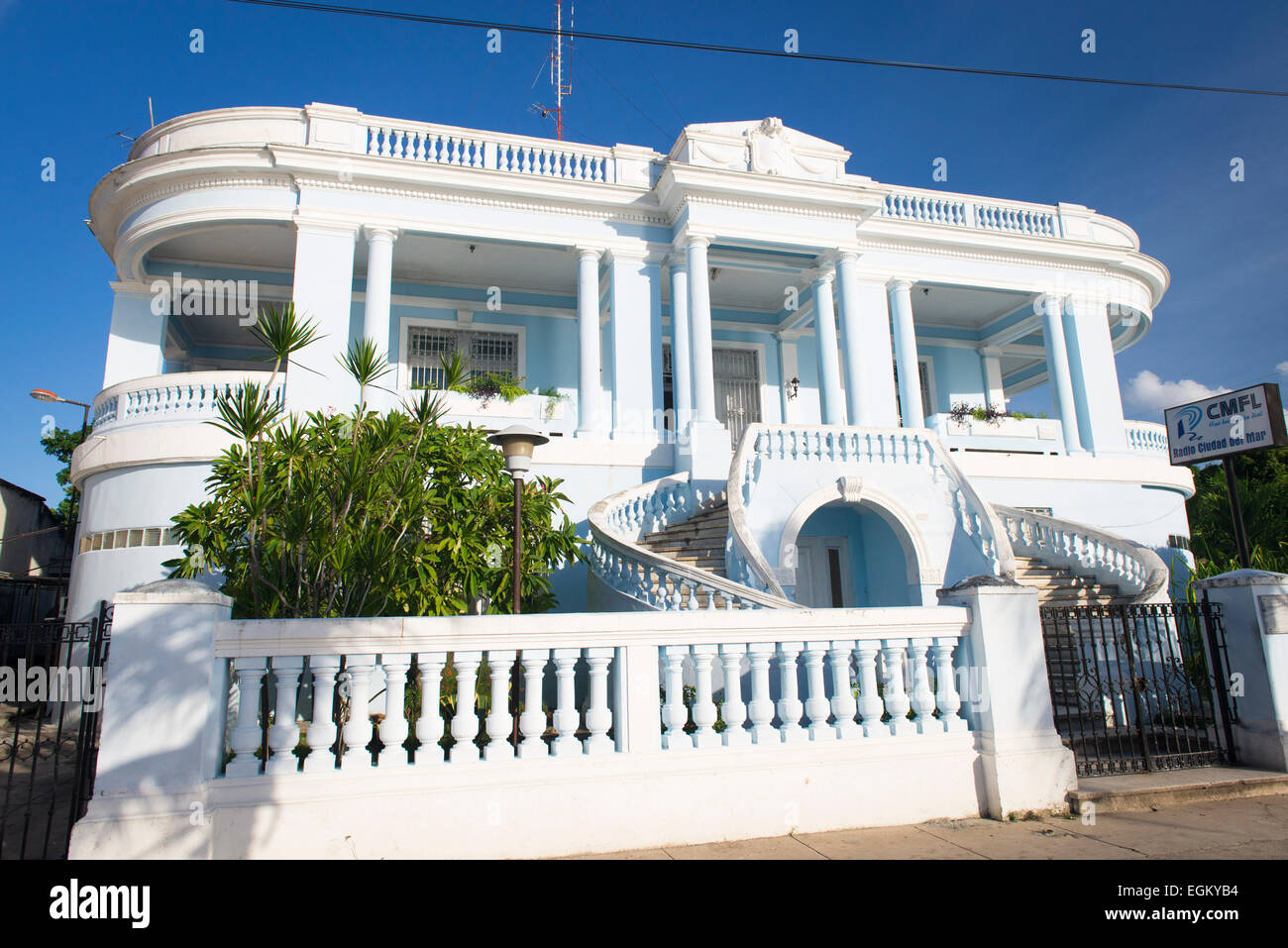 Cuba Cienfuegos beautiful colonial house blue building home of CMFL