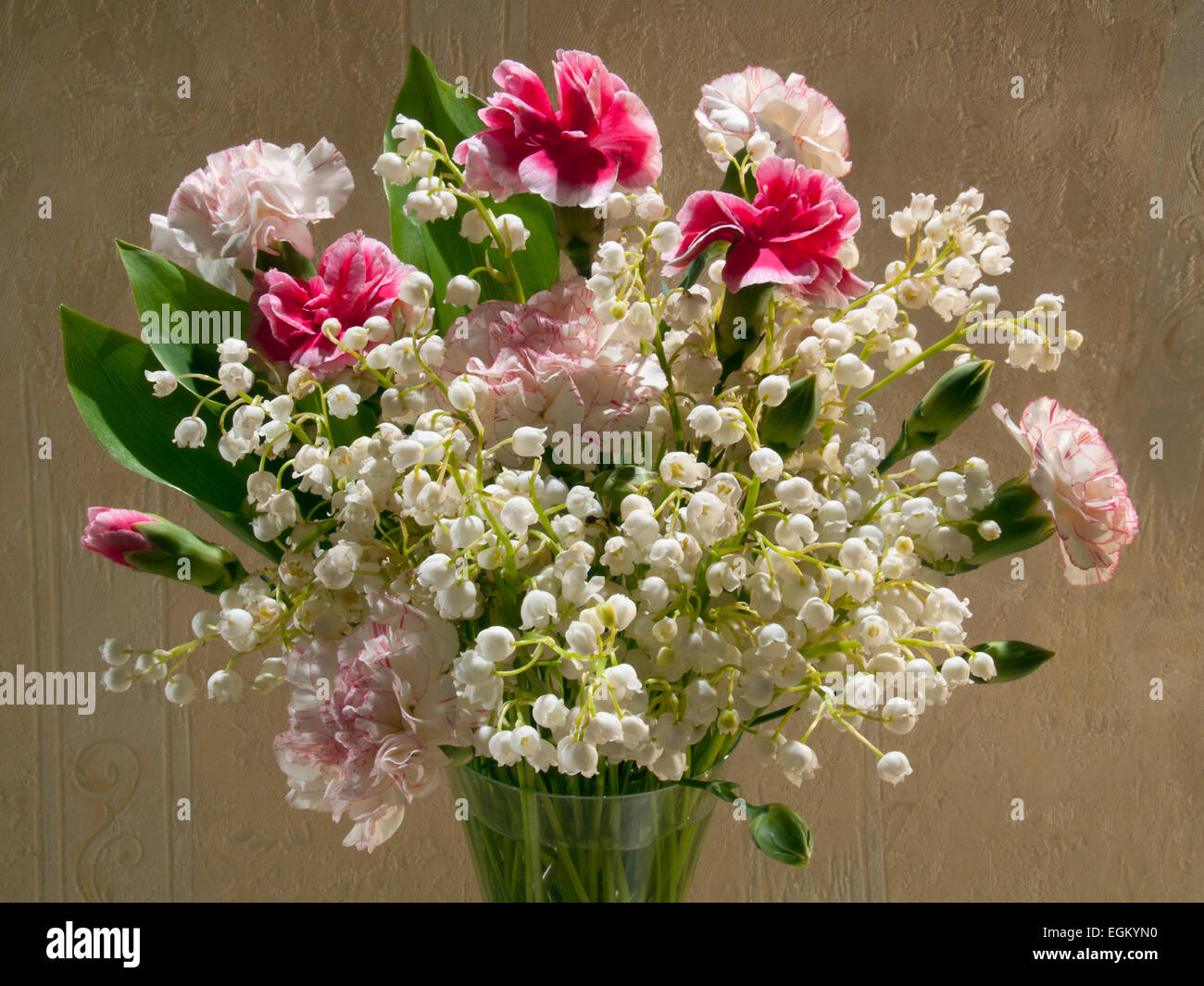 Bouquet With Carnations And Lilies Of The Valley