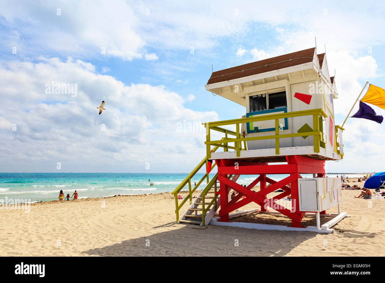 South Beach, Ocean View, Miami with the pacific Ocean and wooden lifeguard shelter, Miami, Florida, USA - Stock Image