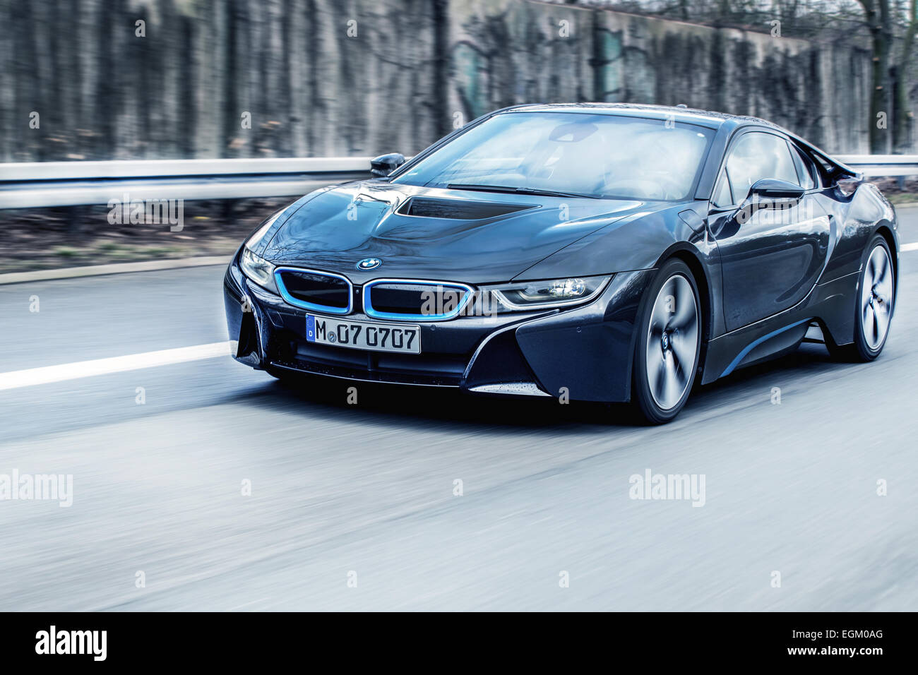 Bmw I8 Driving Scene License Plate Is Changed Stock Photo 79115304