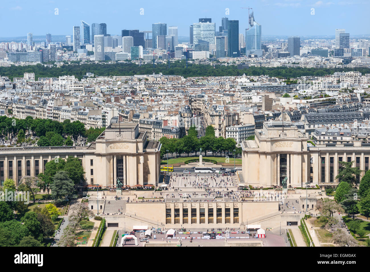 View of the Place du Trocadero from the Eiffel Tower. Paris , France - Stock Image