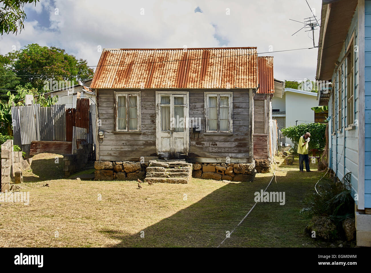 Barbados Wooden House Rusty Corrugated Tin Roof Front
