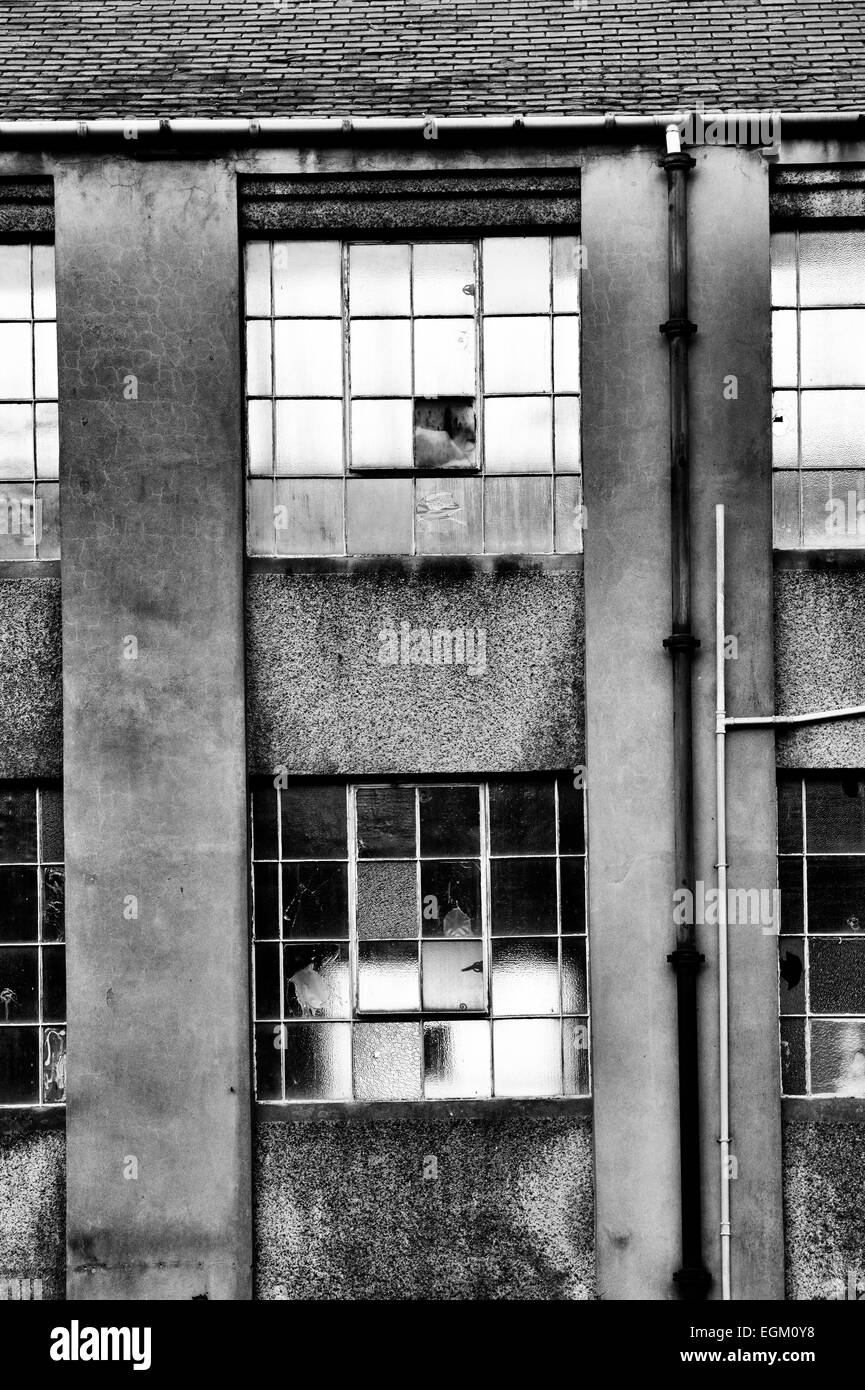 Derelict Industrial building in Selkirk, Scottish Borders, Scotland. Monochrome - Stock Image