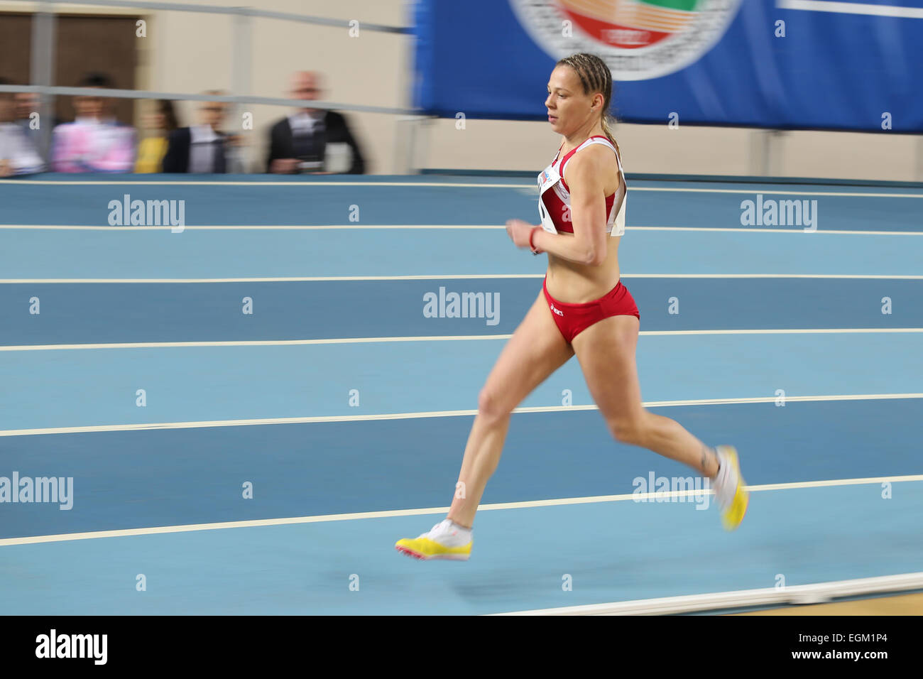 ISTANBUL, TURKEY - FEBRUARY 21, 2015: Montenegrin athlete Sladjana Perunovic running during Balkan Athletics Indoor Stock Photo