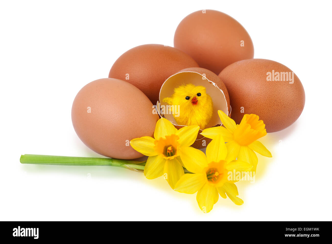 Easter egg decoration with funny chick - Stock Image