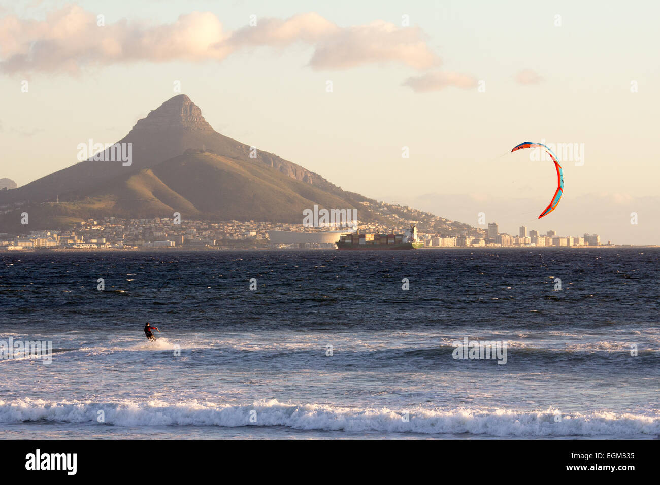 Windsurfing in Cape Town - Stock Image