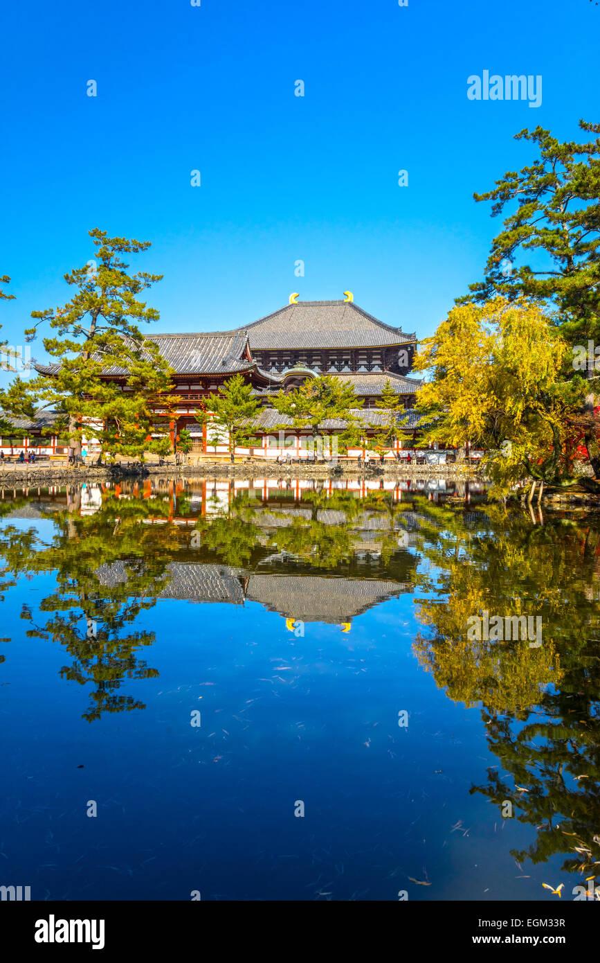 Todai-ji temple in autumn, Nara, Japan. Stock Photo