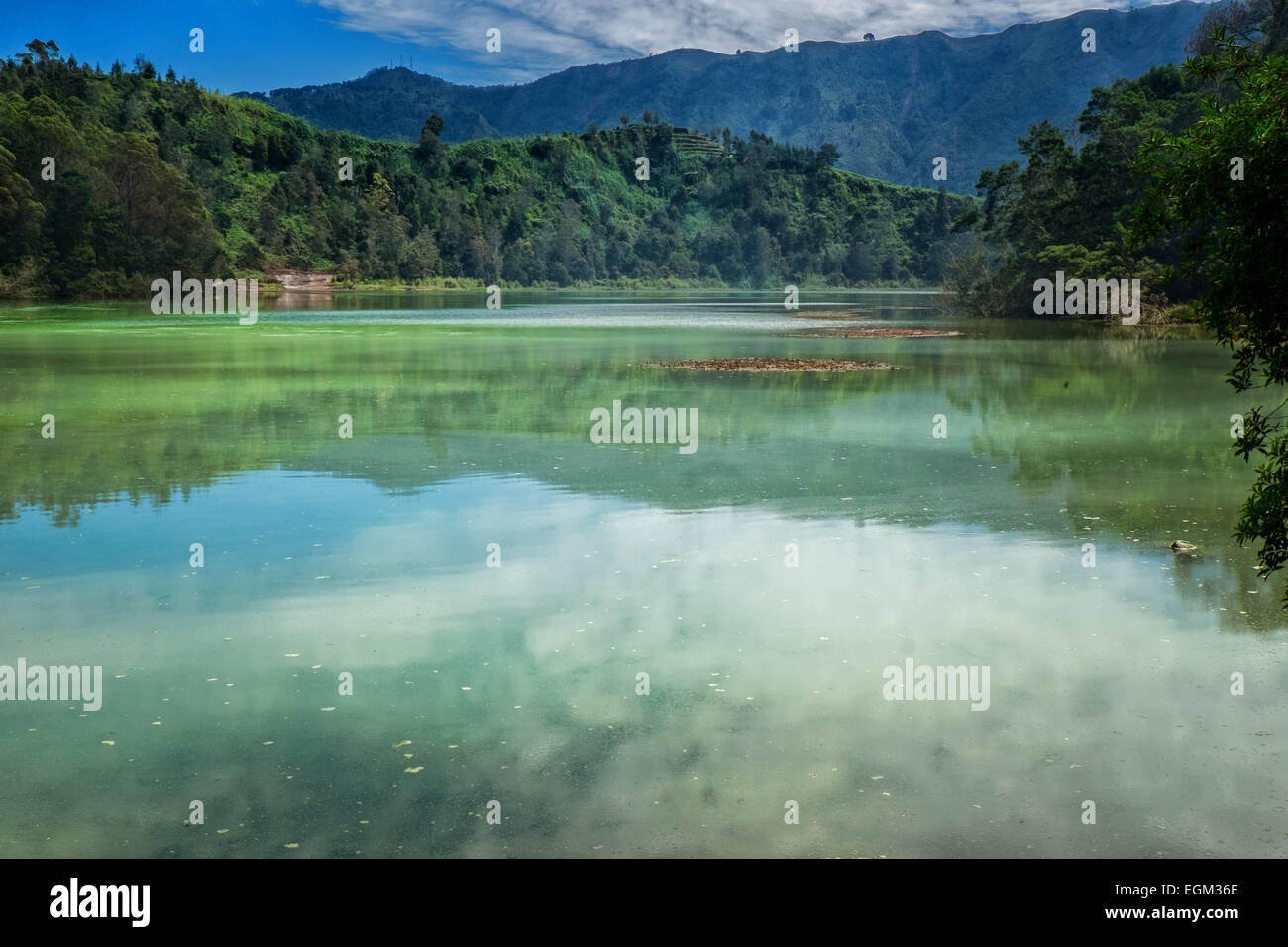 View of volcanic lake in Central Java, Indonesia - Stock Image