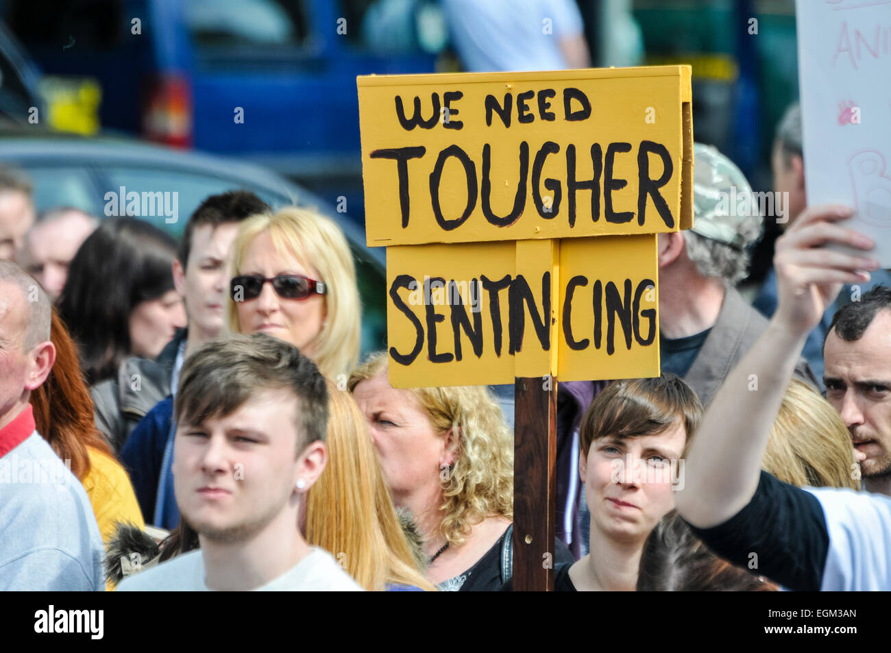 Belfast, Northern Ireland. 27 Apr 2014 - A person holds up a sign saying 'We Need Tougher Sentencing' at - Stock Image