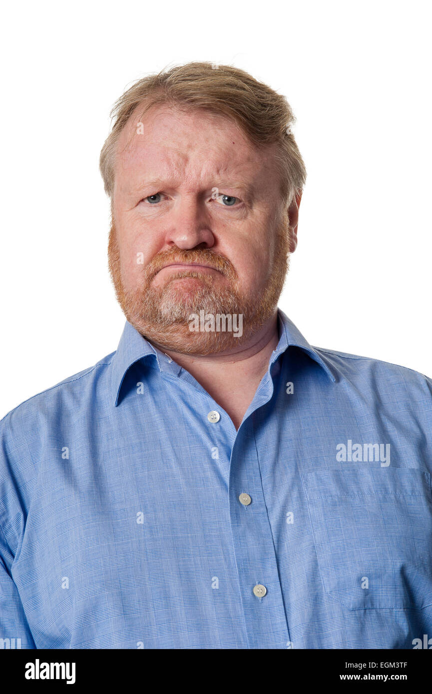 Portrait of bearded overweight middle aged man pulling a face, isolated on white - Stock Image