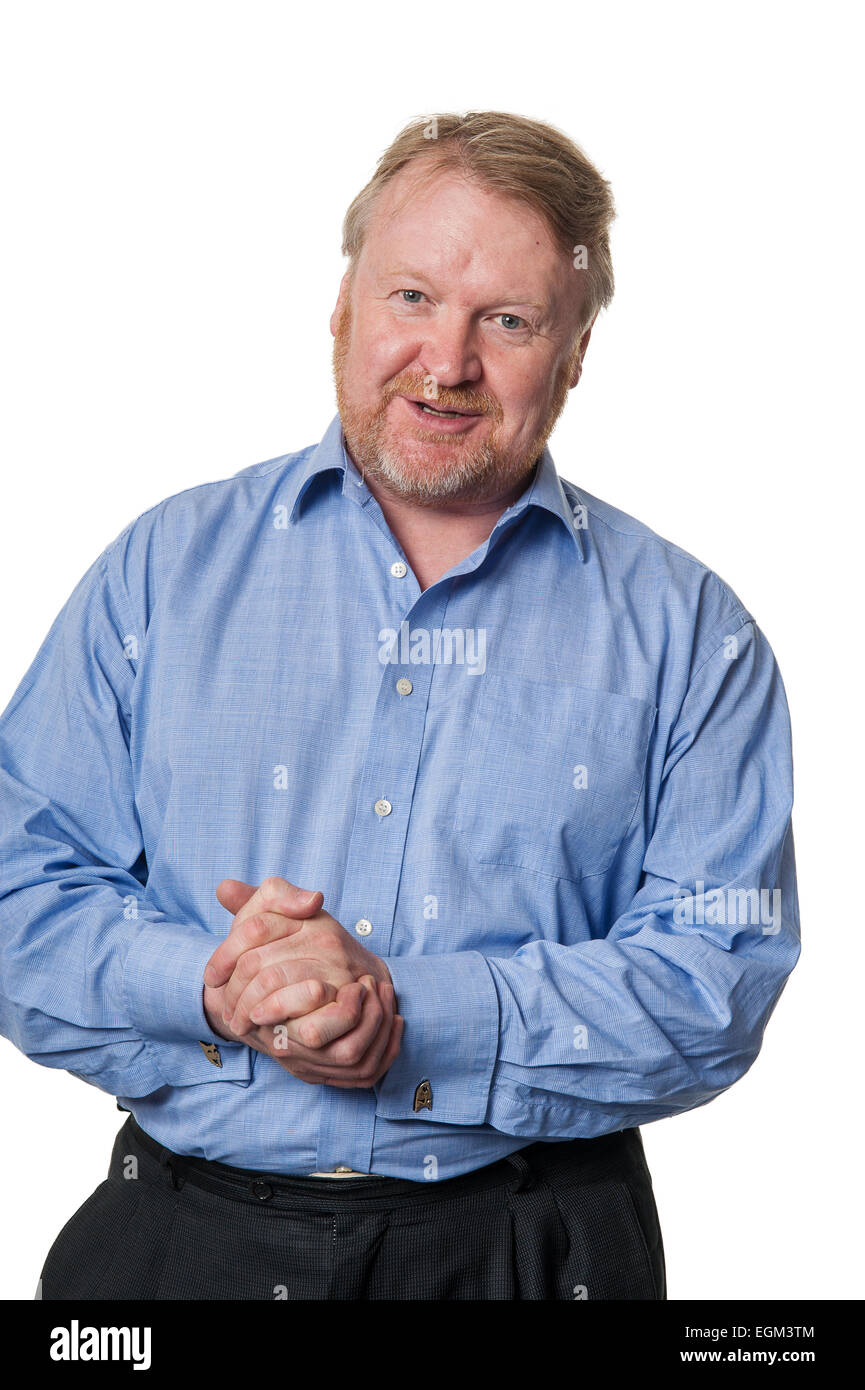 Portrait of bearded overweight middle aged man talking, isolated on white - Stock Image