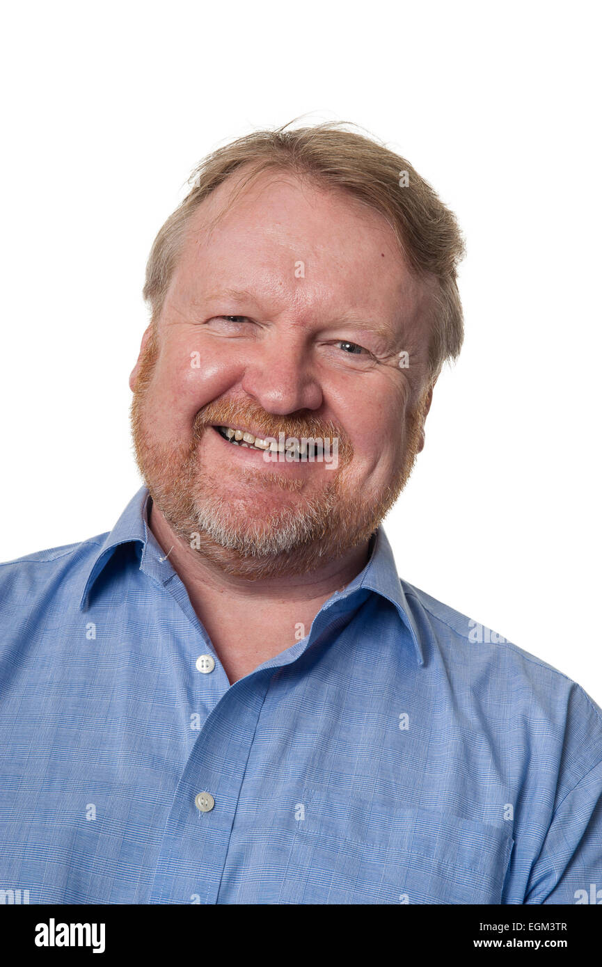 Portrait of bearded overweight middle aged man laughing, isolated on white - Stock Image