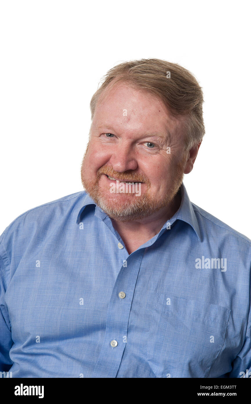Portrait of bearded overweight middle aged man grimacing, isolated on white - Stock Image