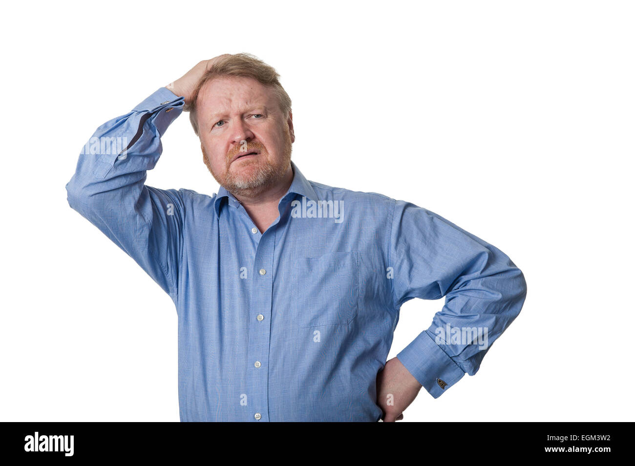 Friendly middle aged bearded guy in blue shirt - on white - Stock Image