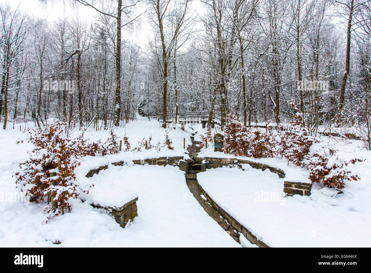 River head, of the  Ruhr, winter, - Stock Image