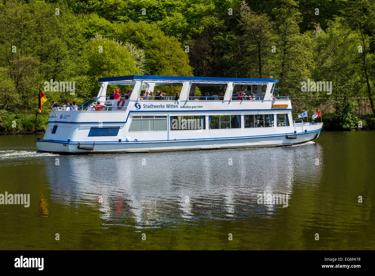 River cruise on river Ruhr, - Stock Image