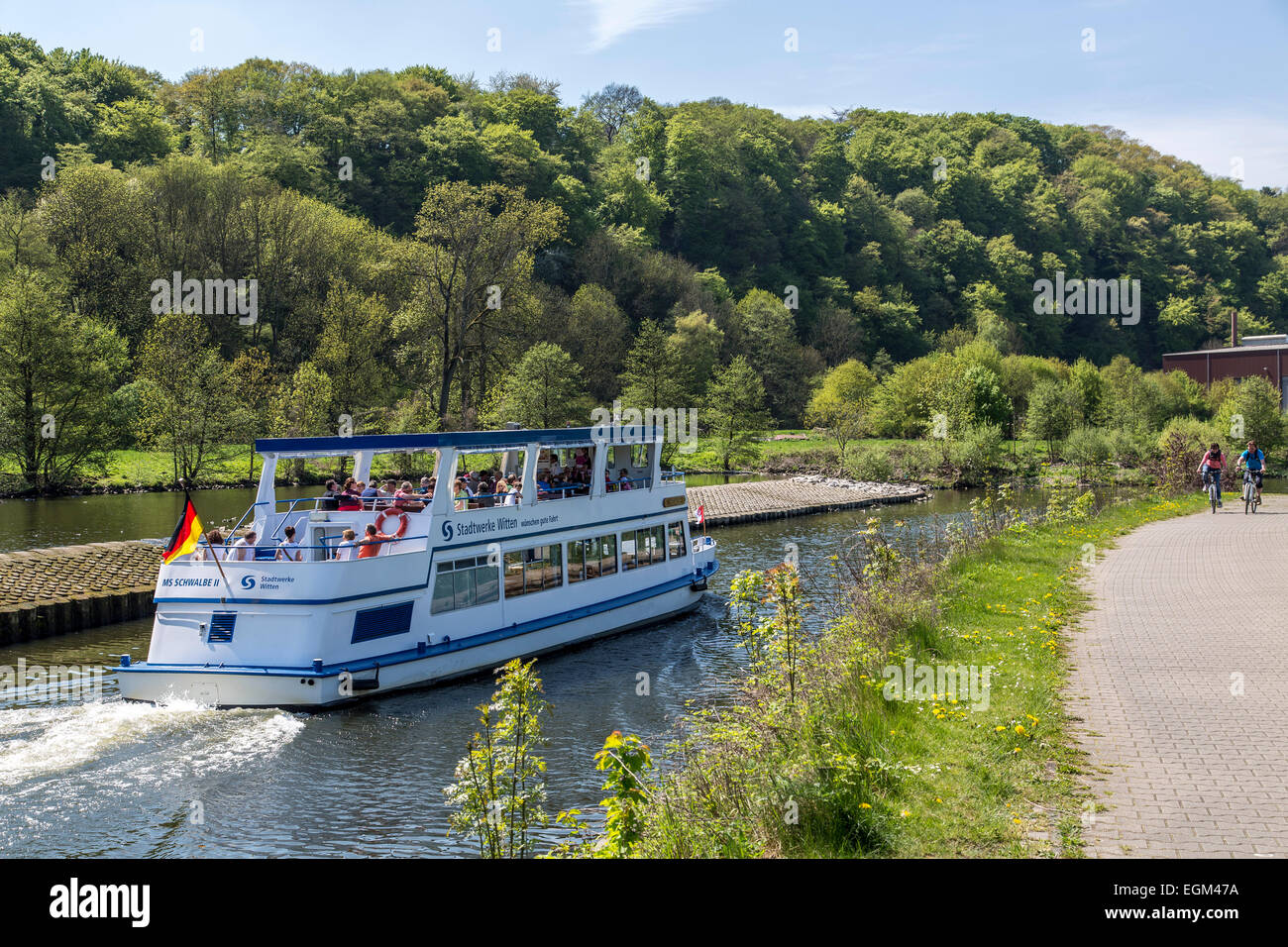 River cruise on river Ruhr, Stock Photo