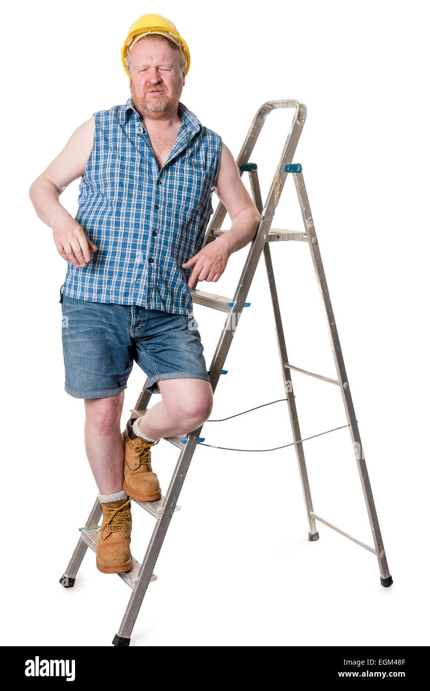 Workman in hardhat on ladder grimacing, isolated on white - Stock Image