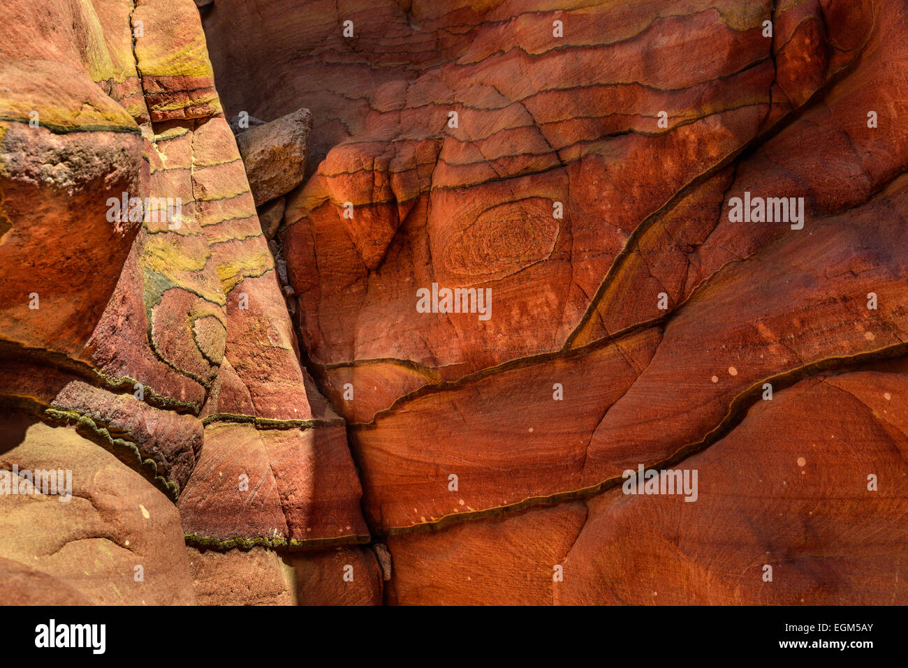 Fragment of eroded sandstone and limestone wall, Colored Canyon, Sinai, Egypt. - Stock Image