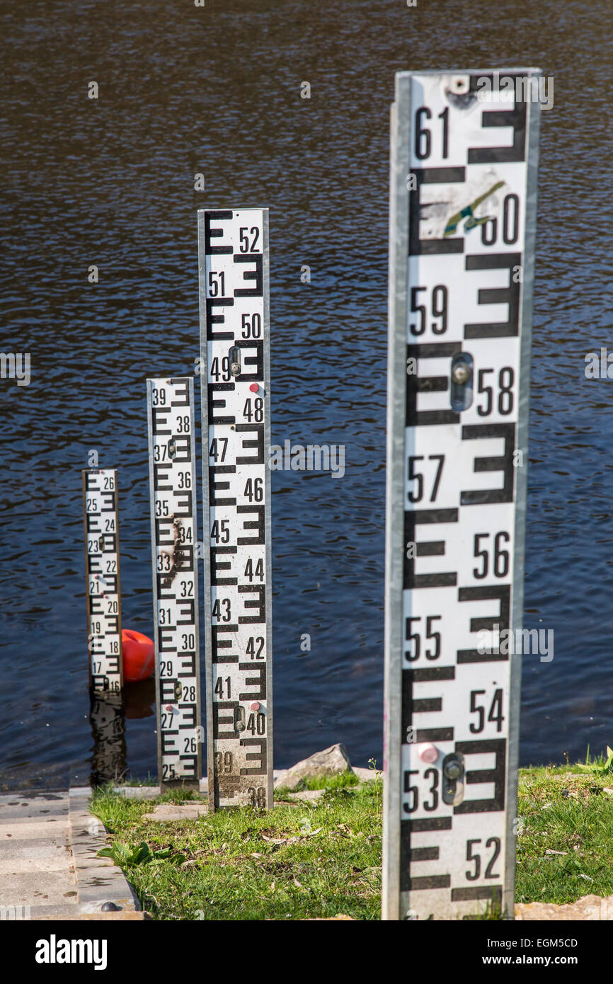 Level measurement of river Ruhr, - Stock Image