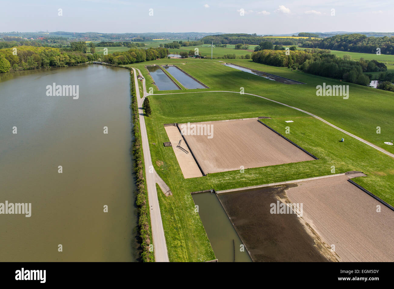Waterworks, filtering water from river Ruhr, to prepare drinking water for city's  water supply, - Stock Image
