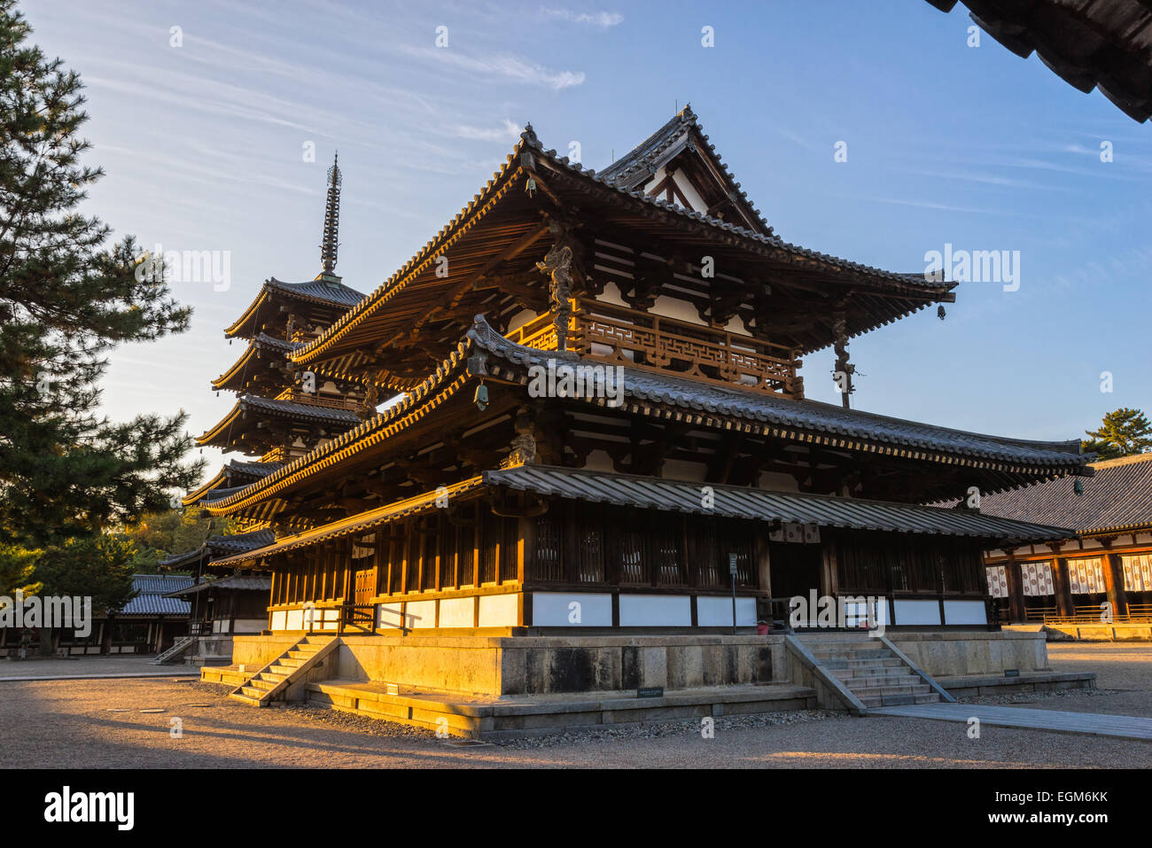 Horyu-ji Temple in Nara, Unesco world Heritage site, Japan - Stock Image