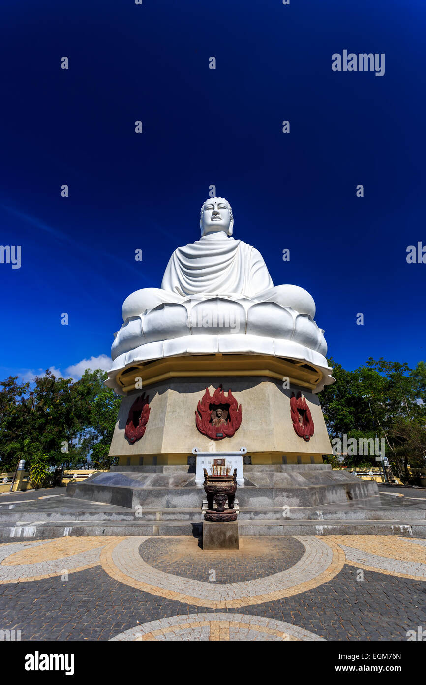 White Buddha Statue at Long Son Pagoda in Nha Trang, Vietnam Stock Photo