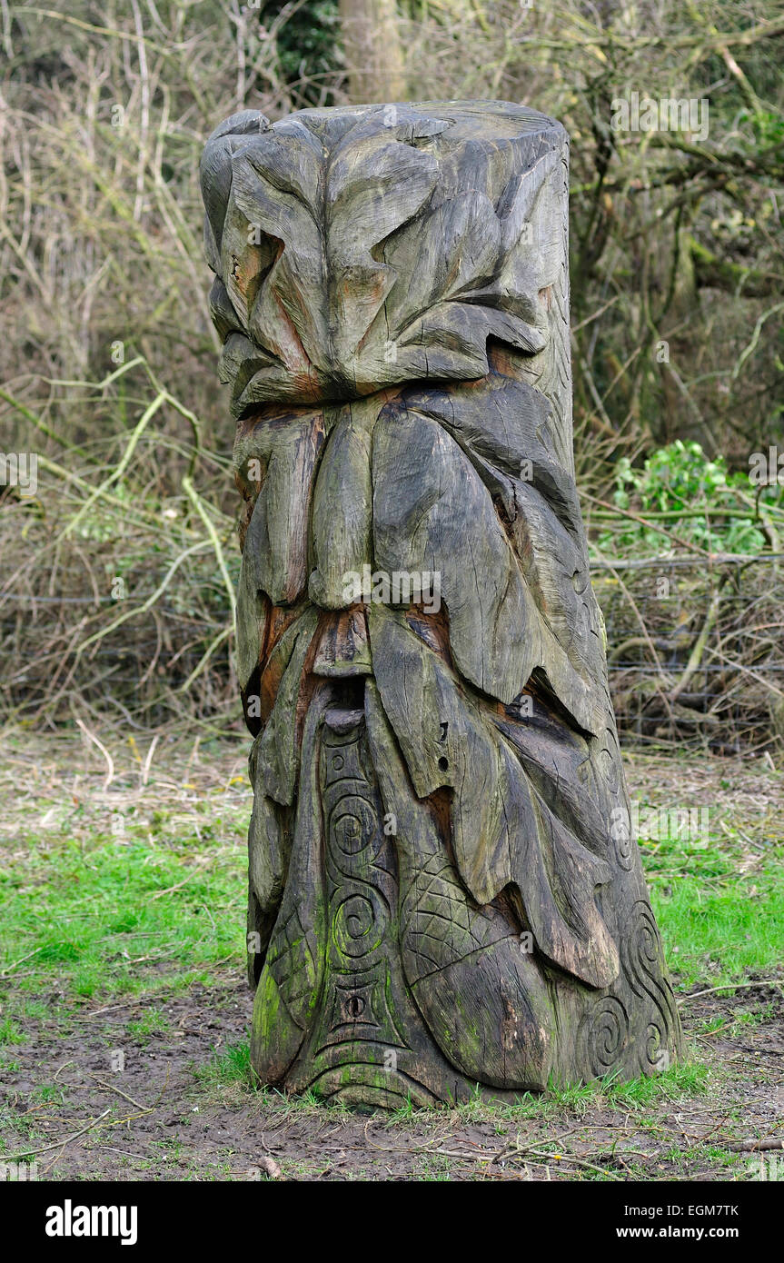 Carved Face in Oak Tree Stump - Stock Image