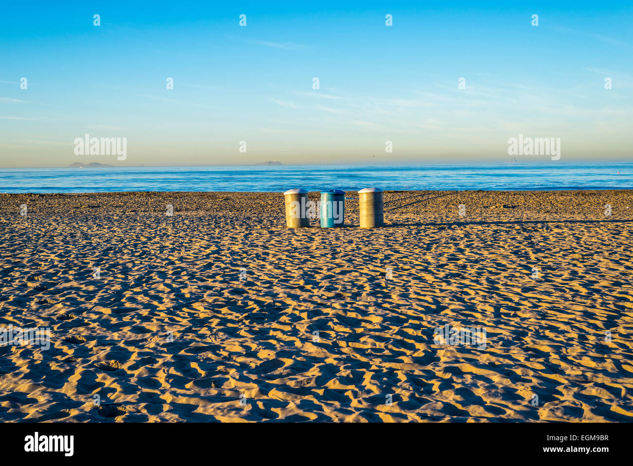 Three trash cans on Coronado Central Beach. Coronado,  California, United States. - Stock Image