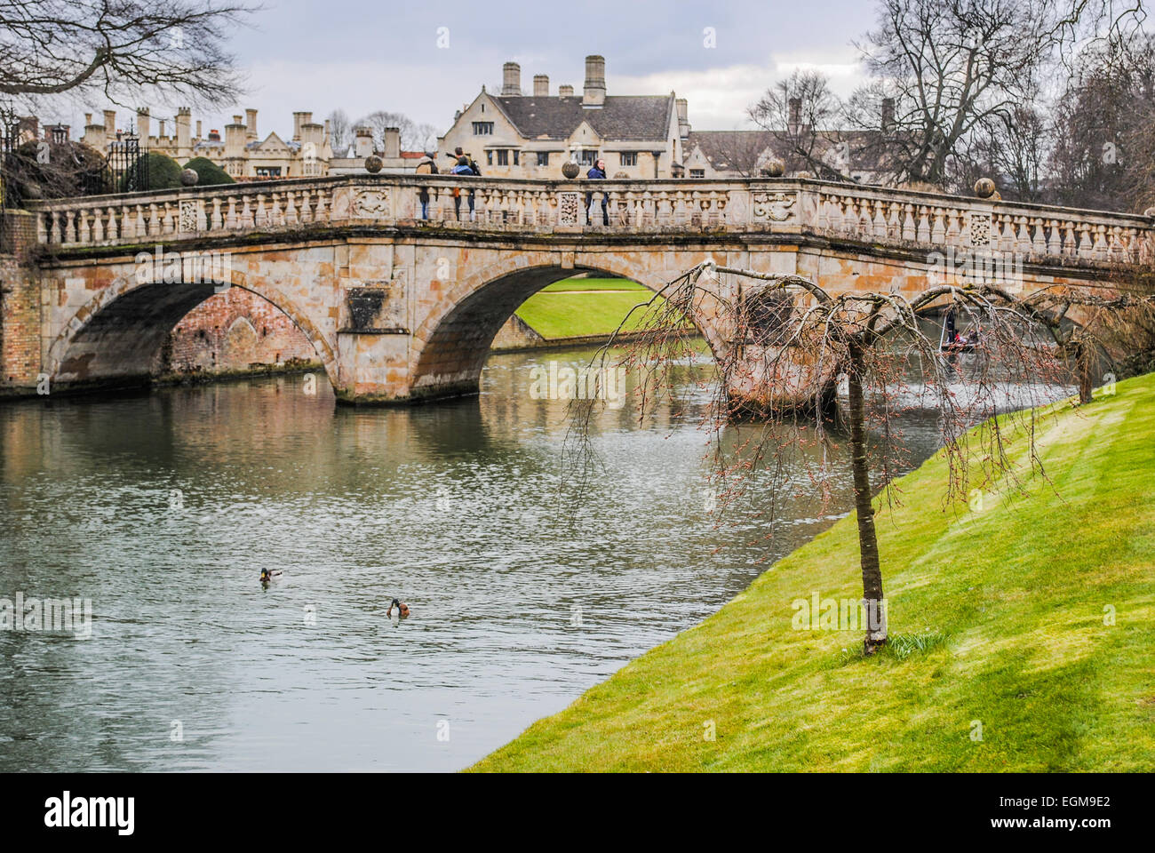 A small pedestrian bridge crosses the river Cam in one of the several parks of Cambridge (UK) - Stock Image
