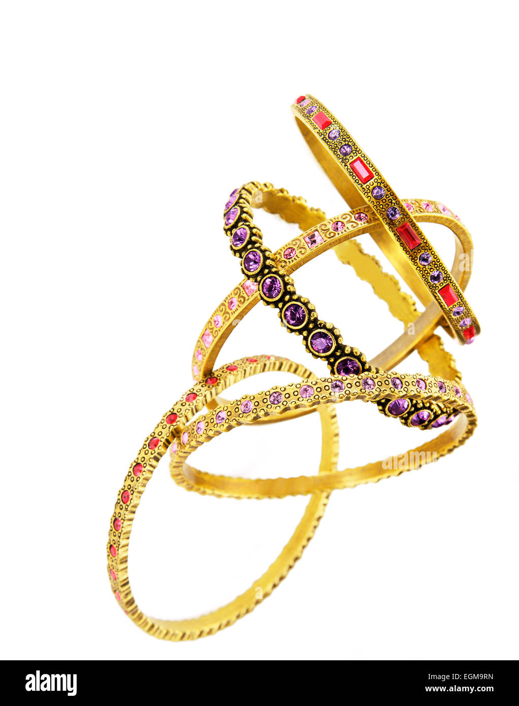 Gold Bracelets With Gemstones - Stock Image