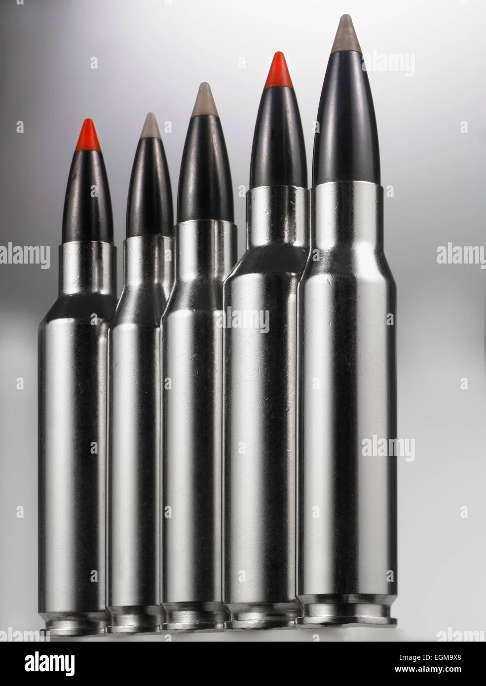 Rifle Bullets, Close-Up - Stock Image