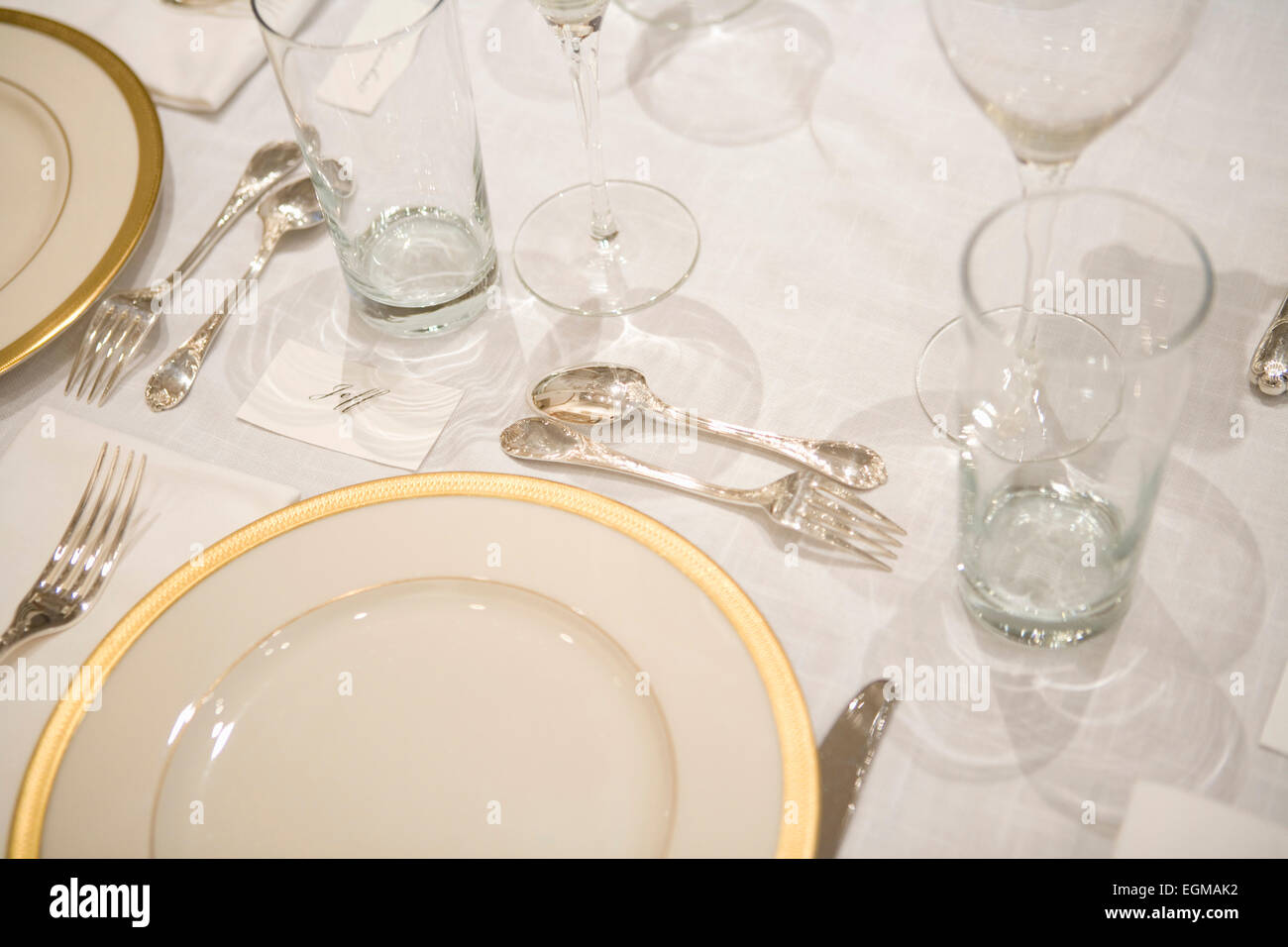 Dining Room Table Formal Place Setting Close-Up - Stock Image & Formal Dinner Setting Silverware Stock Photos u0026 Formal Dinner ...