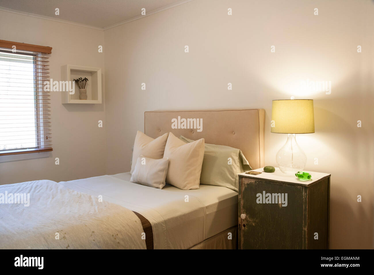 Small Bedroom with Double Bed, Side Table and Lamp Stock ...