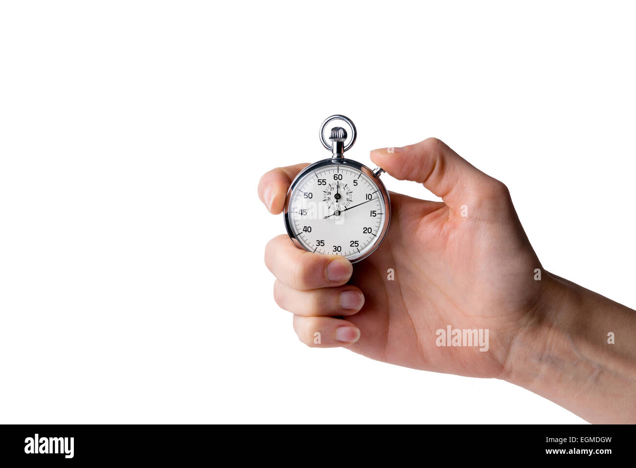 stopwatch hold in hand, button pressed, white background - Stock Image